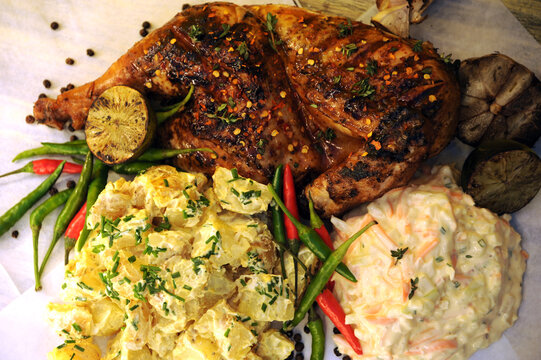 BBQ Spatchcock Chicken with chillies, Cream potato Salad and Homemade Coleslaw