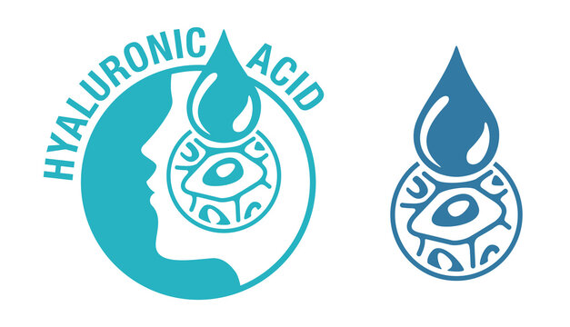 Hyaluronic acid icon - skin moisturizing action in skincare and cosmetics - human silhouette, drop and zoomed cell