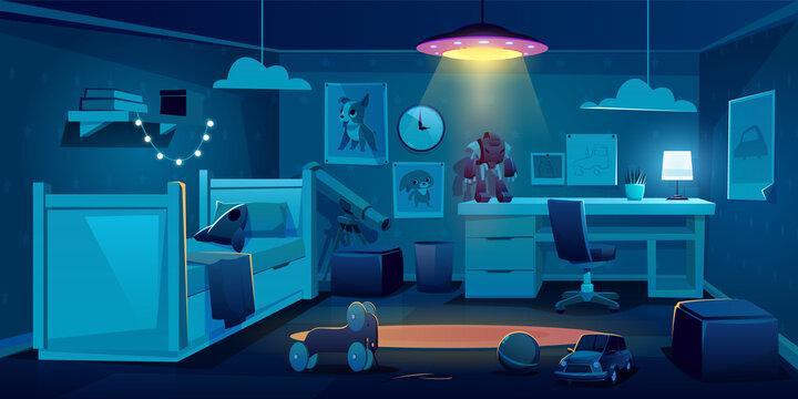 Child bedroom for boy at night time, dark room