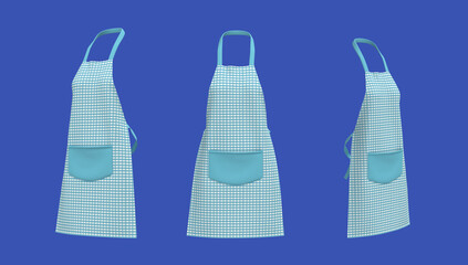 Blank  aprons, apron mockup, clean apron, design presentation for print, 3d illustration, 3d rendering - fototapety na wymiar