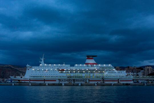 Almeria 11/14/2020 Ferry ship of the Trasmediterranea company moored in the quay of the port of Almeria