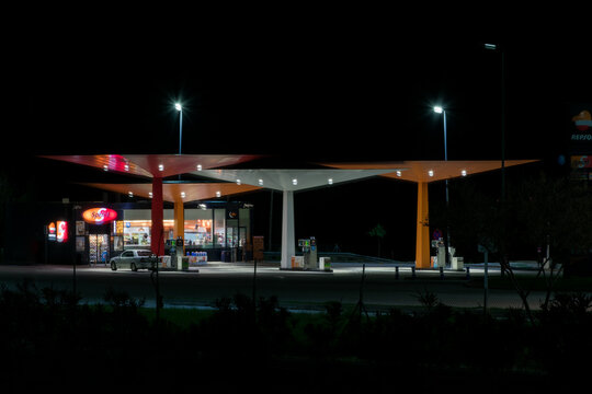 Marbella 3/14/2020 Service station on the A 7 motorway with the Repsol company flag.