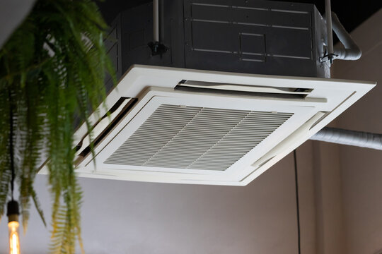 air condition hanging from ceiling. cassette type air conditioner.