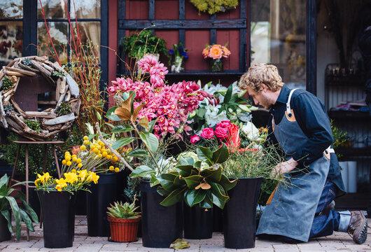 Florist working in his shop