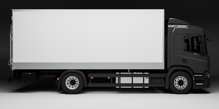 Rostock, Germany - November 21, 2020: realistic 3D render illustration of black delivery truck with white cargo space