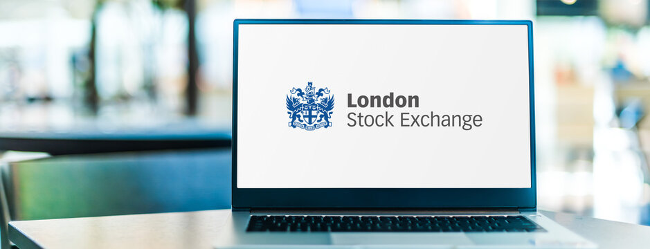 Laptop computer displaying logo of London Stock Exchange