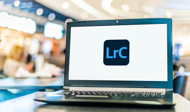 Laptop computer displaying logo of Adobe Lightroom Classic