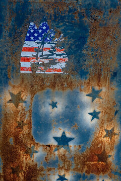 American flag, distressed