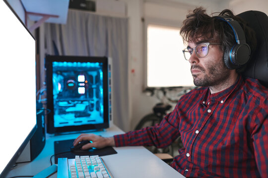 Portrait of a man streaming on the pc