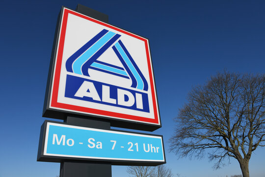 Meinersen, Lower Saxony / Germany - April 6, 2020: Sign at the entrance to an ALDI Nord store in Meinersen, Germany  -  ALDI is the common brand of two leading global supermarket chains
