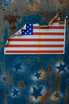 American flag, distressed