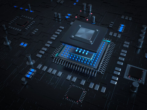 Glowing computer chip and CPU motherboard technology circuit board