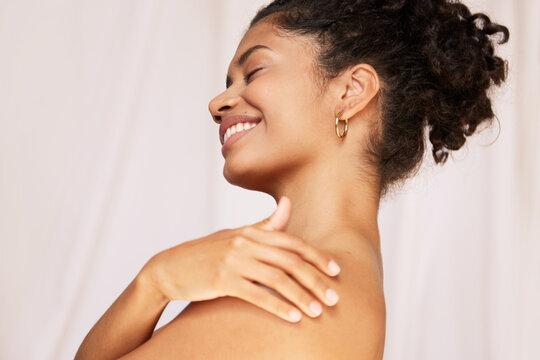 Woman feeling amazing after body hydration