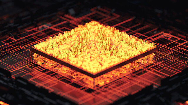 Detail of surreal computer cpu.
