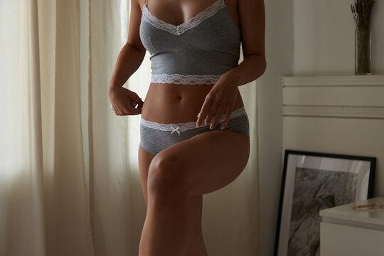 Unrecognisable woman in her underwear