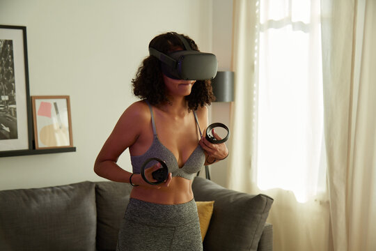 Woman getting comfortable after VR workout