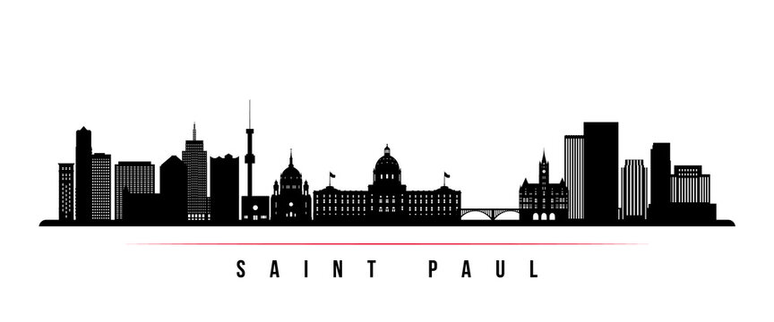 Saint Paul skyline horizontal banner. Black and white silhouette of Saint Paul City, Minnesota. Vector template for your design.