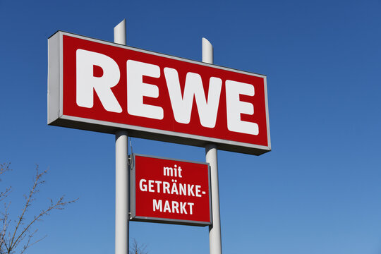 Meinersen, Lower Saxony / Germany - April 6, 2020: REWE Market in Meinersen, Germany - REWE is a German diversified retail and tourism co-operative group based in Cologne