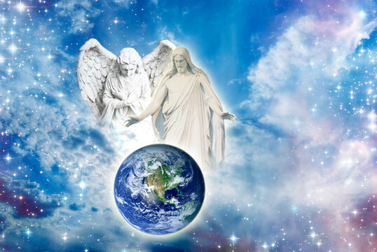 angel archangel and Jesus Christ with open arms over Earth in divine sky with Light like peace, hope, protection and spiritual or religious conceot