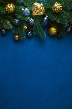 Dark blue Christmas background with copy space for a greeting text