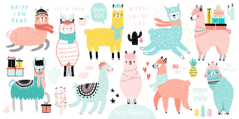 Wall Mural - Christmas set with Cute Llamas celebrating Christmas eve, handwritten letterings and other elements. Funny characters. .
