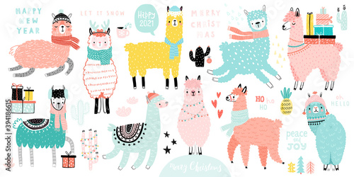 Wall mural Christmas set with Cute Llamas celebrating Christmas eve, handwritten letterings and other elements. Funny characters. .