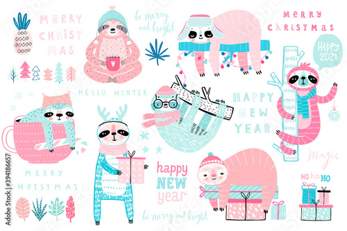 Wall mural Christmas Sloths set, hand drawn style - calligraphy, cute sloths and other elements.