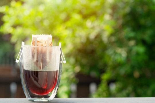 Instant freshly brewed cup of coffee,Drip bag fresh coffee drink