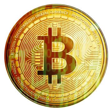 Bitcoin Münze mit Binär Code isoliert auf weiß