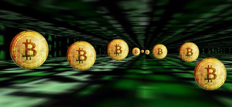 Binär Code Hintergrund mit Bitcoins