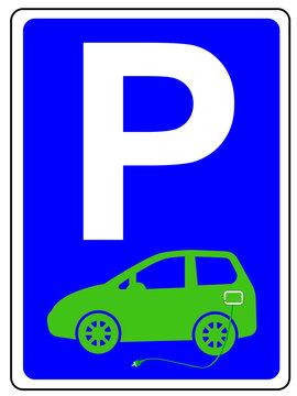 Parkplatz Schild mit E-Auto und Ladekabel