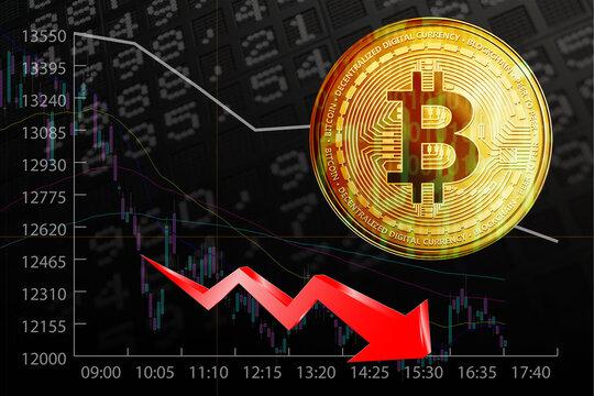 Börse Symbole mit fallendem Markt und Bitcoin