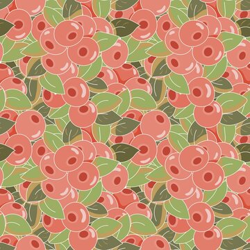 seamless vegetable pattern with cranberry berries and leaves