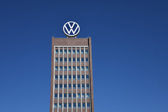 Wolfsburg, Lower Saxony / Germany - April 6, 2020: Headquarters of Volkswagen AG in Wolfsburg, Germany - VW is one of the world's leading manufacturers of automobiles