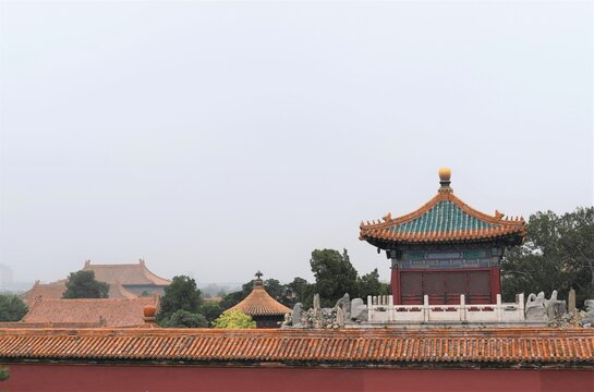 Beijing China Forbidden City Wall Temple Architecture Bird View