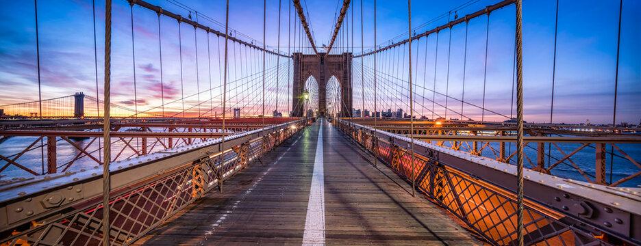 Brooklyn Bridge in New York City at dawn