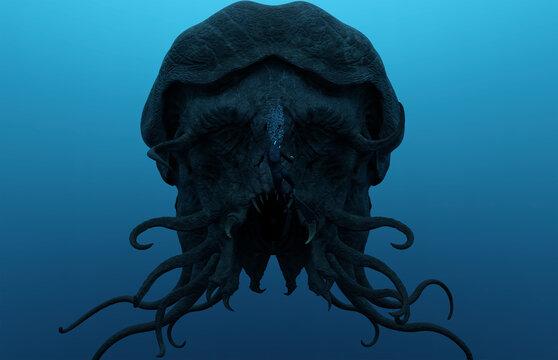 3d illustration of a Deep Sea Diver facing a huge monster/aquatic creature/alien