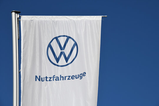 Wolfsburg, Lower Saxony / Germany - April 6, 2020: Volkswagen Nutzfahrzeuge in Wolfsburg, Germany - Volkswagen Commercial Vehicles - VWCV - is a German marque of light commercial vehicles