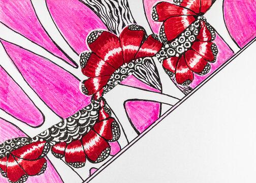 Grafische Elemente in Zentangle Darstellung in Pink und Rot