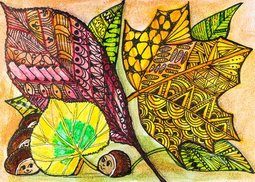 Herbstblätter in Zentangle  Darstellung
