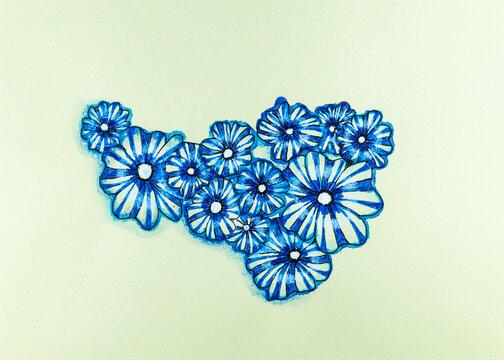 Blaue Blumen in Aquarell