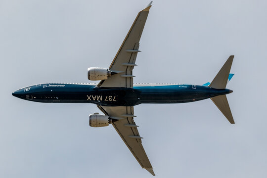 Boeing 737 MAX passenger plane performing a demonstration flight at the Paris Air Show. France - June 22, 2017