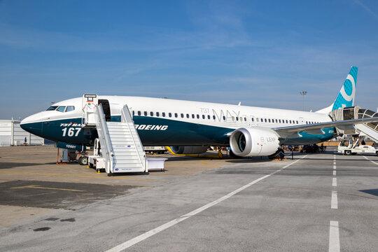 Boeing 737-9 MAX passenger plane at the Paris Air Show.