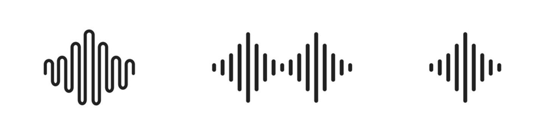 Sound wave icon set. Vector audio wave or line symbol collection.