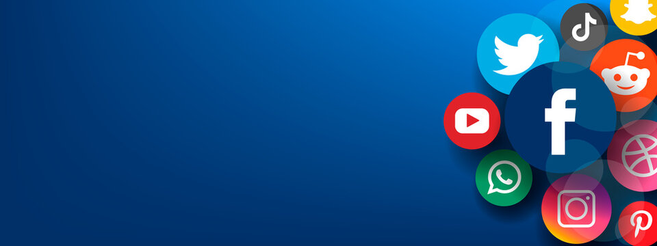 Horizontal banner with popular social media network icons on blue background.