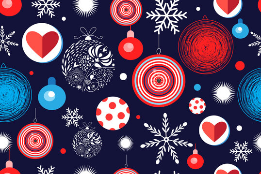Seamless Christmas pattern with balloons and snowflakes
