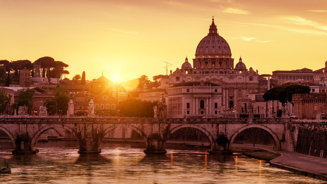 Sunny view of St Peter's Basilica in Vatican at sunset, Rome, Italy