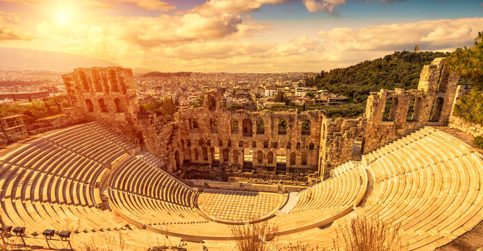 Panorama of Odeon of Herodes Atticus at sunset, Athens, Greece