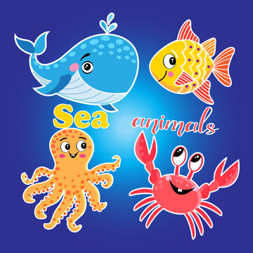 Vector bright set of illustrations with sea animals