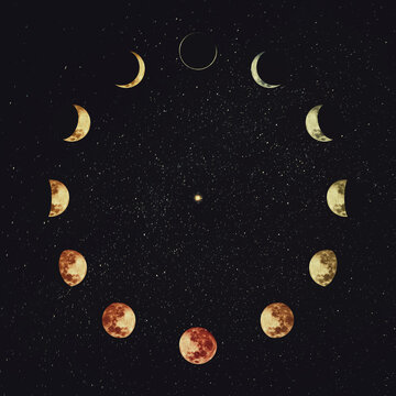 Moon phases over starry night sky background. Astronomy and astrology conceptual scene. Esoteric magic celestial signs, lunar annual calendar, symbol for 12 months, or minimalist clock shape orbit